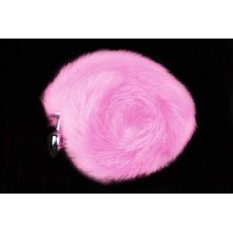 Пікантні Штучки, Срібляста анальний пробка з рожевим хвостиком - 6х2,5 см