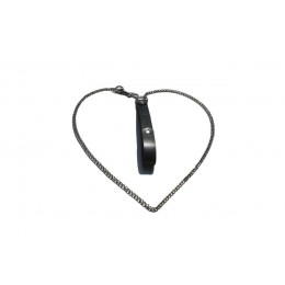 Kiss Leather - кожаный поводок с цепью