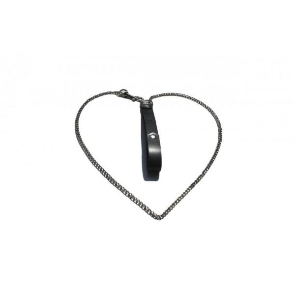 Kiss Leather - шкіряний поводок з ланцюга