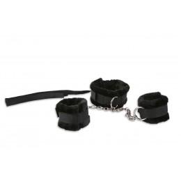 Комплект для бондажу: нашийник і наручники, чорний