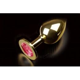 Велика золотиста анальна пробка з заокругленим кінчиком і кристалом Пікантні Штучки, 9х3,5 см, рубінова