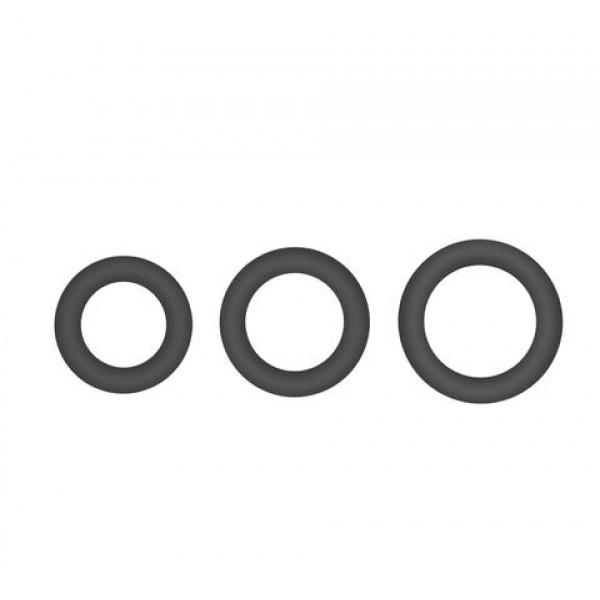 Topco Sales Hombre Snug Fit Silicone Thick C-Rings - набір ерекційніх сіліконовіх кілець, 3 шт, чорний