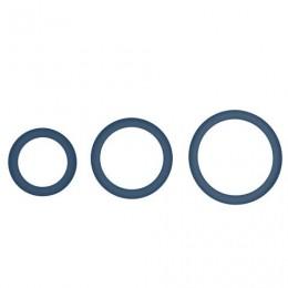 Topco Sales Hombre Snug-Fit Silicone Thin C-Rings, 3 Pk - комплект ерекційніх кілець, 3,1 см, 4,4 см, 5 см, синій