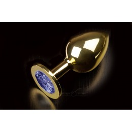 Велика золотиста анальна пробка з заокругленим кінчиком і кристалом Пікантні Штучки, 9х3,5 см, синя