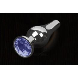 Пікантні Штучки, Срібляста анальна пробка з кристалом - 12х4 см., синя
