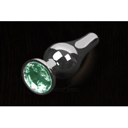 Пікантні Штучки, Срібляста анальна пробка з кристалом - 12х4 см., смарагдова