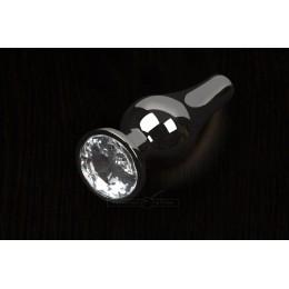 Пикантные Штучки, Маленькая графитовая анальная пробка с кристаллом - 8.5Х3 см, прозрачная