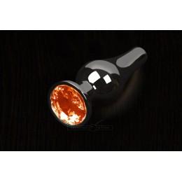 Пикантные Штучки, Маленькая графитовая анальная пробка с кристаллом - 8.5Х3 см, оранжевая