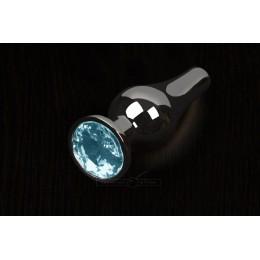 Пикантные Штучки, Маленькая графитовая анальная пробка с кристаллом - 8.5Х3 см, голубая