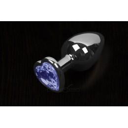 Пікантні Штучки Велика срібляста анальна пробка з кристалом у вигляді серця 8,5Х4 см, синя
