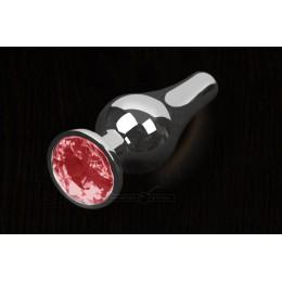 Пикантные Штучки, Серебристая анальная пробка с кристаллом - 12Х4 см., красная