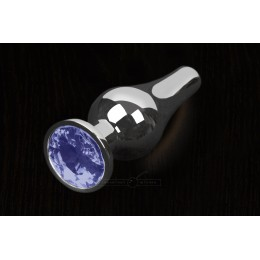 Пікантні штучки - Велика графітова анальна пробка з кристалом, 12х4 см, синя