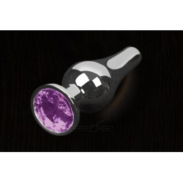 Пікантні Штучки, Срібляста анальна пробка з кристалом - 12х4 см., фіолетова