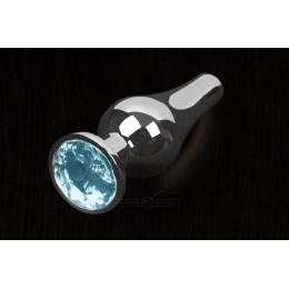 Пікантні Штучки, Срібляста анальна пробка з кристалом - 12х4 см., блакитна