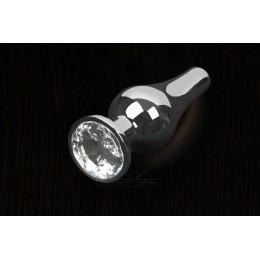 Пікантні Штучки, Срібляста анальна пробка з кристалом - 8,5х3 см., прозора