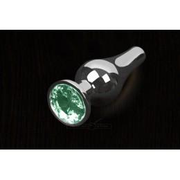 Пікантні Штучки, Срібляста анальна пробка з кристалом - 8,5х3 см., смарагдова