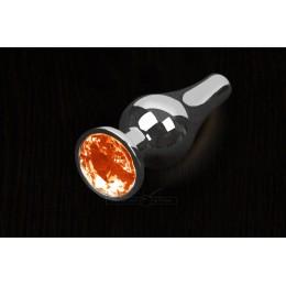 Пікантні Штучки, Срібляста анальна пробка з кристалом - 8,5х3 см., помаранчева