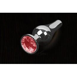 Пікантні Штучки, Срібляста анальна пробка з кристалом - 8,5х3 см., червона