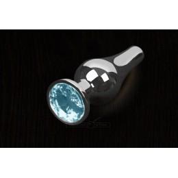 Пікантні Штучки, Срібляста анальна пробка з кристалом - 8,5х3 см., блакитна