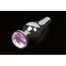Пікантні Штучки, Срібляста анальна пробка з кристалом - 12х4 см., рожева