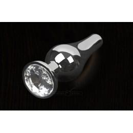 Пікантні Штучки, Срібляста анальна пробка з кристалом - 12х4 см., прозора
