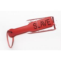 Шлепалка Пікантні Штучки з рельєфним написом SLAVE, червона