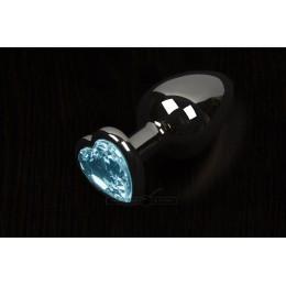 Пікантні Штучки, Велика графітова анальна пробка з кристалом у вигляді серця - 8,5Х4 см, блакитна