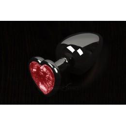 Пикантные Штучки, Маленькая графитовая анальная пробка с кристаллом в виде сердечка, 6Х2,5 см., красная