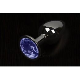 Пікантні штучки, Велика графітова анальна пробка з кристалом - 8,5х4 см., синя