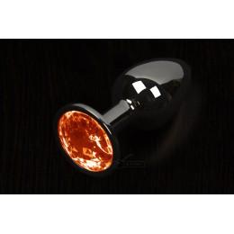 Пікантні штучки, Велика графітова анальна пробка з кристалом - 8,5х4 см., помаранчева