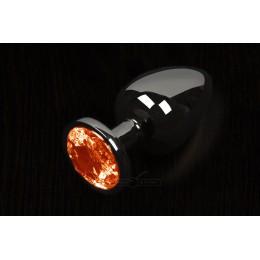Пікантні штучки, Маленька графітова анальна пробка з кристалом - 6Х2,5 см., помаранчева