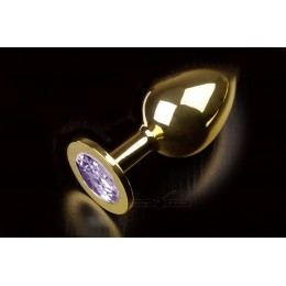 Большая золотистая анальная пробка с кристаллом, сиреневая