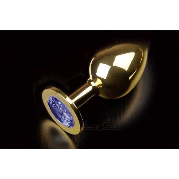 Велика золотистого анальний пробка з кристалом, синій