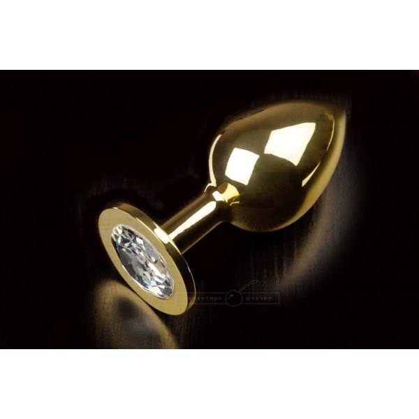 Велика золотистого анальний пробка з кристалом, прозорий