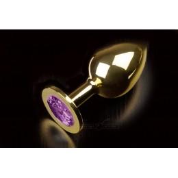 Большая золотистая анальная пробка с кристаллом, фиолетовая