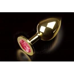 Велика золотиста анальна пробка з кристалом, рубінова