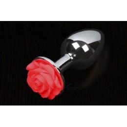 Пікантні Штучки Rose Large - велика анальна пробка, 8.5х4 см, червона