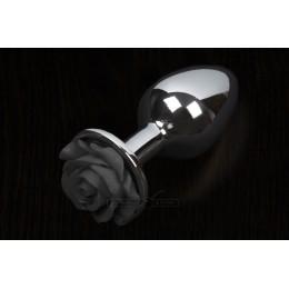 Пікантні Штучки Rose Large - велика анальна пробка, 8.5х4 см, чорна