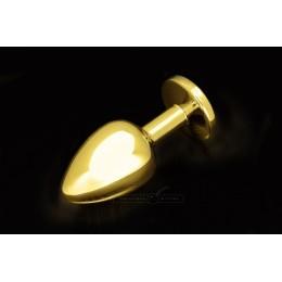 Велика золотиста анальна пробка з заокругленим кінчиком і кристалом Пікантні Штучки, 9х3,5 см, жовта