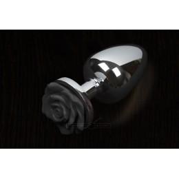Пикантные Штучки Rose Small - маленькая анальная пробка, 6х3 см, черная