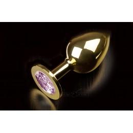 Велика золотиста анальна пробка з заокругленим кінчиком і кристалом Пікантні Штучки, 9х3,5 см, бузкова