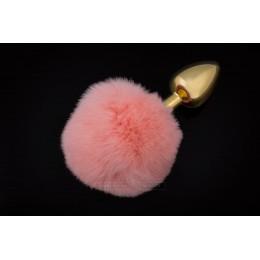 Маленька золотистого пробка з Пухнаста хвостиком Пікантні Штучки, 7х3 см, рожевий