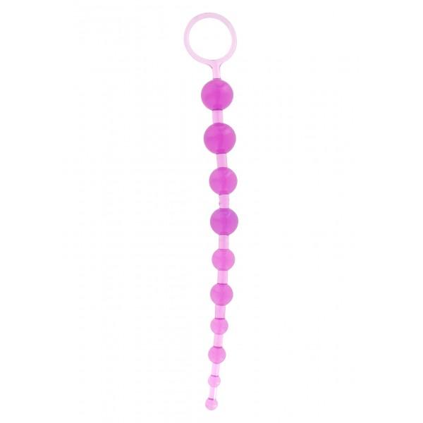Анальний ланцюжок на жорсткій зв'язці Thai, 25х2 см, фіолетовий