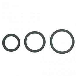 Topco Sales Hombre Snug-Fit Silicone Thin C-Rings, 3 Pk - комплект эрекционных колец, 3,1 см, 4,4 см, 5 см, серый