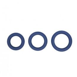 Topco Sales Hombre Snug Fit Silicone Thick C-Rings - набір ерекційніх силіконових кілець, 3 шт, синій