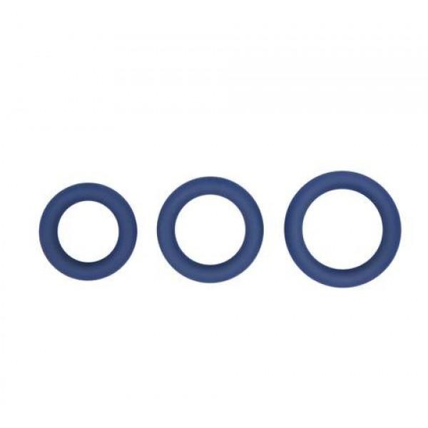 Topco Sales Hombre Snug Fit Silicone Thick C-Rings - набір ерекційніх сіліконовіх кілець, 3 шт, синій