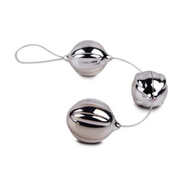 Вагінальні кульки FunZone ViBalls Triple Silver, сріблястий