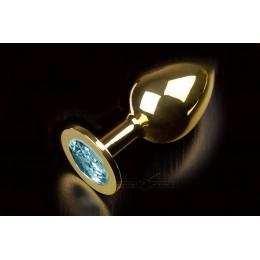 Велика золотиста анальна пробка з заокругленим кінчиком і кристалом Пікантні Штучки, 9х3,5 см, блакитна