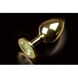 Велика золотиста анальна пробка з заокругленим кінчиком і кристалом Пікантні Штучки, 9х3,5 см, зелена